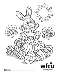 Colouring Sheet One Easter Bunny on top of egg pile